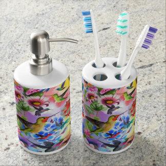 Humming Birds Soap Dispenser And Toothbrush Holder