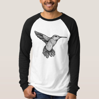 Humming-print Mens Raglan T-Shirt