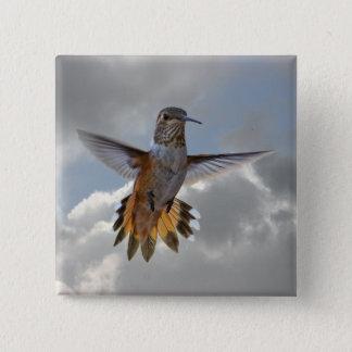 HUMMINGBIRD 15 CM SQUARE BADGE