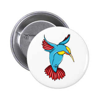 HummingBird 2 ~ Vintage Forties Tattoo Bird Art 6 Cm Round Badge