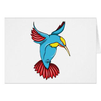 HummingBird 2 ~ Vintage Forties Tattoo Bird Art Greeting Card