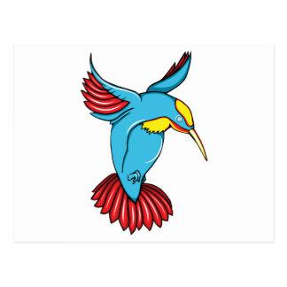 HummingBird 2 ~ Vintage Forties Tattoo Bird Art Postcard