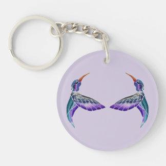 Hummingbird Abstract Watercolor Key Ring