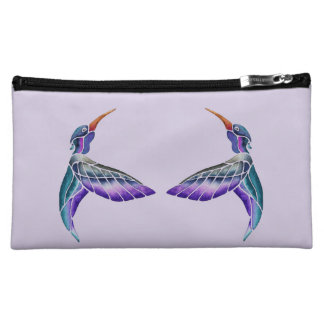 Hummingbird Abstract Watercolor Makeup Bag