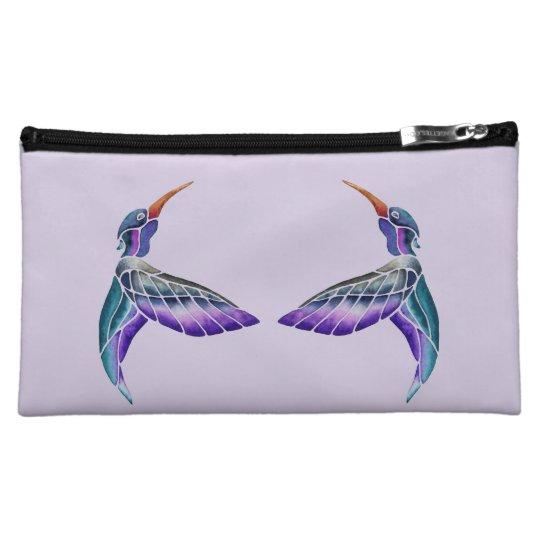 Hummingbird Abstract Watercolor Makeup Bags