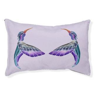 Hummingbird Abstract Watercolor Pet Bed