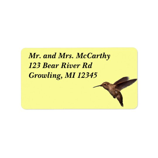 Hummingbird Address Avery Label Address Label
