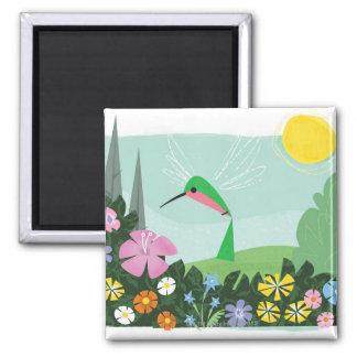 Hummingbird Among Flowers Magnet