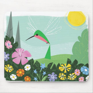 Hummingbird Among Flowers Mouse Pads