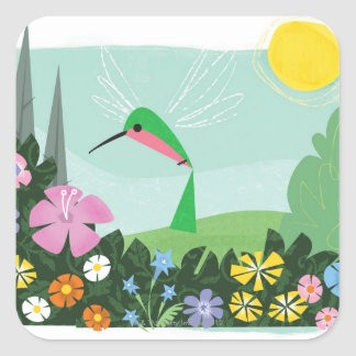 Hummingbird Among Flowers Square Sticker