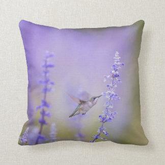 Hummingbird Among Lavender Throw pillow
