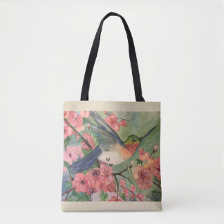 Hummingbird and blossoms tote