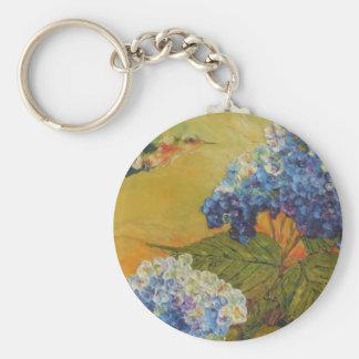 Hummingbird and Blue Hydrangea Basic Round Button Key Ring