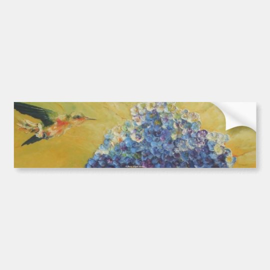 Hummingbird and Blue Hydrangea Bumper Sticker