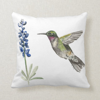 Hummingbird and Bluebonnet Cushion
