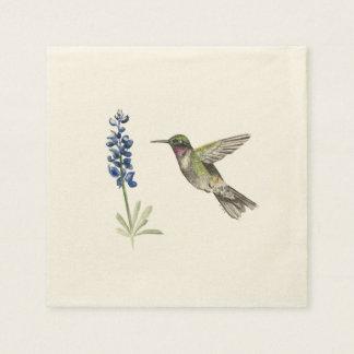 Hummingbird and Bluebonnet Disposable Serviette