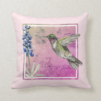 Hummingbird and Bluebonnet on Pink Background Cushion