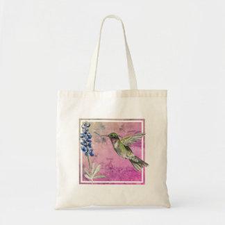 Hummingbird and Bluebonnet on Purple Background