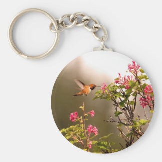 Hummingbird and Flowers Basic Round Button Key Ring