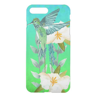 Hummingbird and Flowers Blue Green Ombre Bokeh iPhone 7 Plus Case