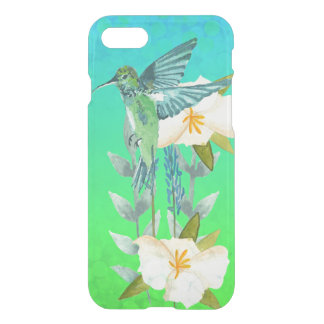 Hummingbird and Flowers Blue Green Ombre Bokeh iPhone 8/7 Case