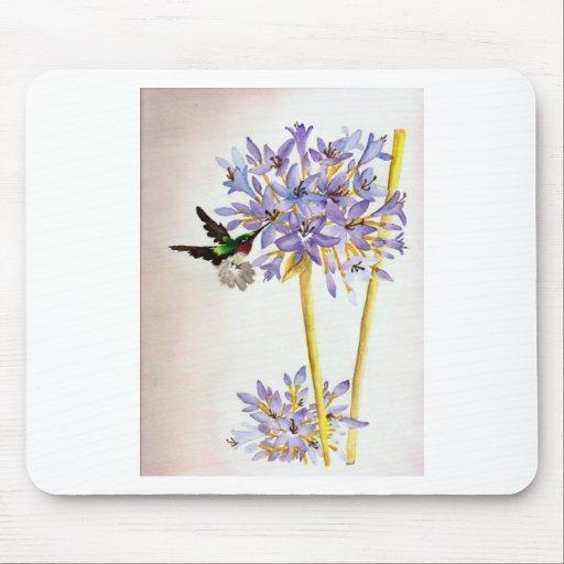 Hummingbird and Flowers Mousepads