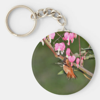 Hummingbird and Flowers Picture Keychain