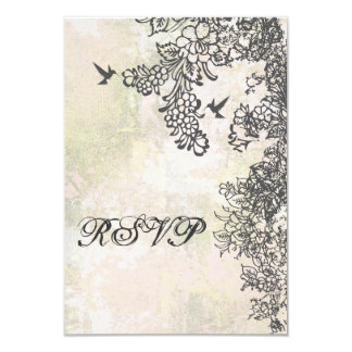 Hummingbird and Flowers Wedding RSVP Card 9 Cm X 13 Cm Invitation Card