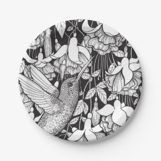 Hummingbird and fuchsia 7 inch paper plate