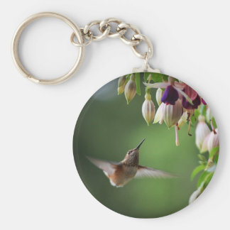 Hummingbird And Fushia Flower Plant Keychain