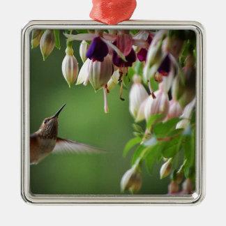 Hummingbird and Fushia Plant Silver-Colored Square Decoration