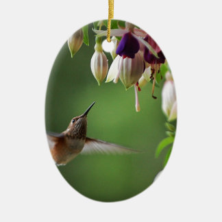 Hummingbird and Fushia Plant Ceramic Oval Decoration