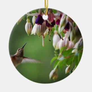 Hummingbird and Fushia Plant Round Ceramic Decoration