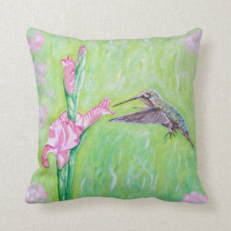 Hummingbird and Gladioli Throw Pillow