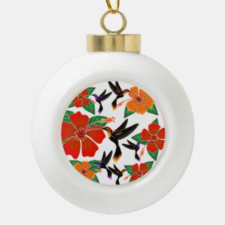 Hummingbird and Hibiscus Batik Ornament