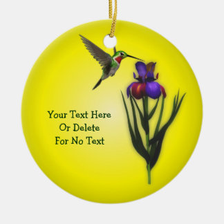 Hummingbird And Iris Flower Personalized Christmas Ornament