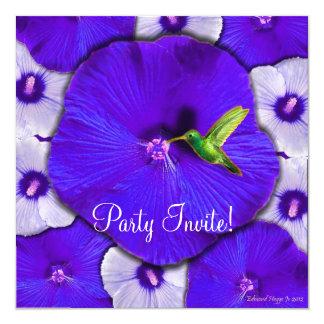 Hummingbird and Lavender Hibiscus 13 Cm X 13 Cm Square Invitation Card