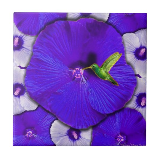Hummingbird and Lavender Hibiscus Tile
