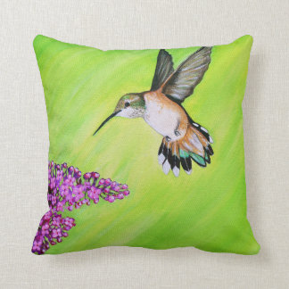 Hummingbird and Lilac Cushion