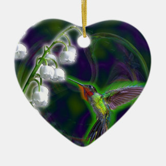 Hummingbird and Lily of the Valley Flowers Ceramic Heart Decoration