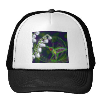 Hummingbird and Lily of the Valley Flowers Trucker Hats
