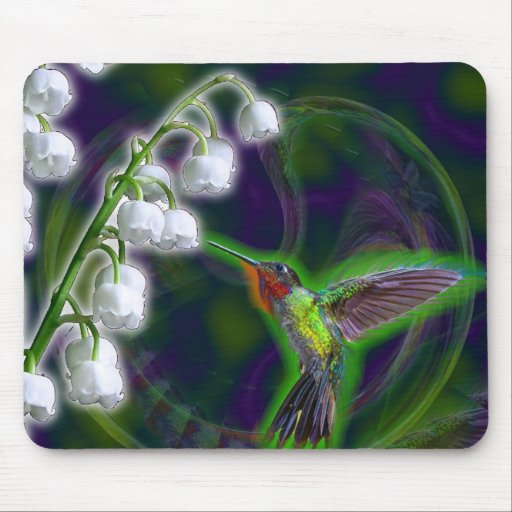 Hummingbird and Lily of the Valley Flowers Mouse Pads