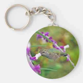 Hummingbird and Mexican Sage II Basic Round Button Key Ring