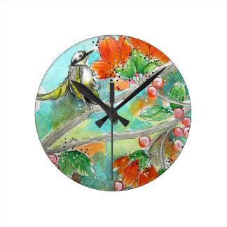 Hummingbird and Orange Blossoms Wall Clock