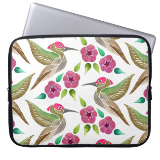 Hummingbird and Petunia Abstract Painting Laptop Computer Sleeves