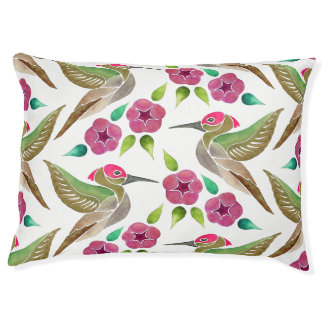 Hummingbird and Petunia Abstract Painting Pattern Pet Bed