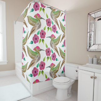 Hummingbird and Petunia Abstract Painting Pattern Shower Curtain