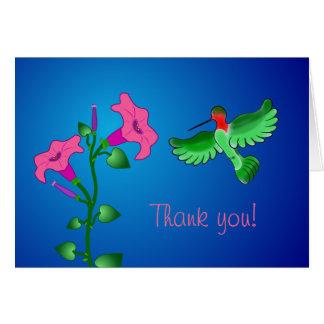 Hummingbird and Petunias Thank You Card