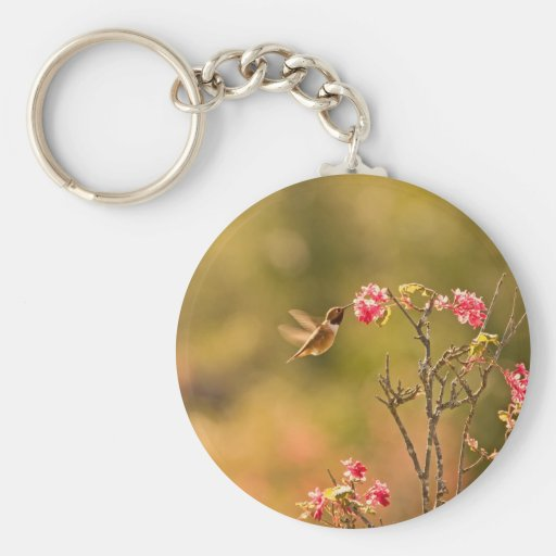 Hummingbird and Pink Flowers Key Chains