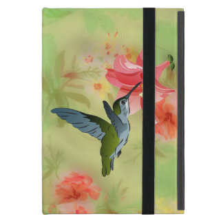Hummingbird and Pink Lily on Floral Pattern iPad Mini Case